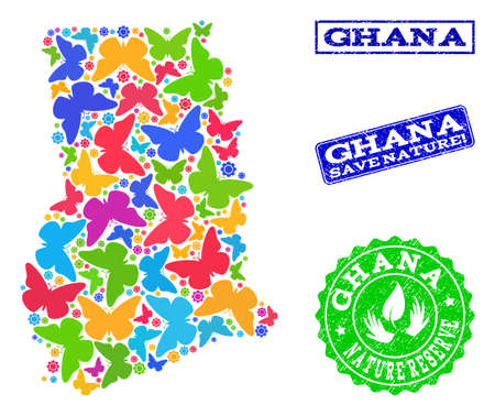 Ecological collage of bright mosaic map of Ghana and unclean seals with Nature Reserve caption. Mosaic map of Ghana designed with colorful butterflies. Vector watermarks with unclean rubber texture. Reklamní fotografie - 124208932
