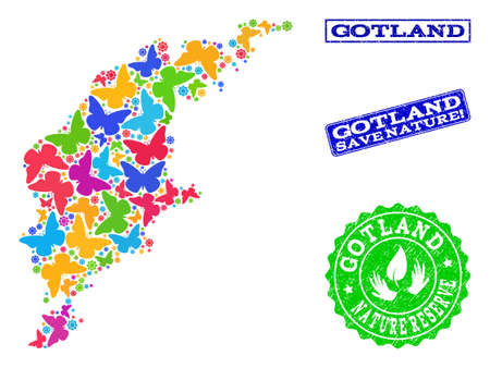 Ecological composition of bright mosaic map of Gotland Island and dirty stamps with Nature Reserve caption. Mosaic map of Gotland Island constructed with bright colored butterflies. Çizim