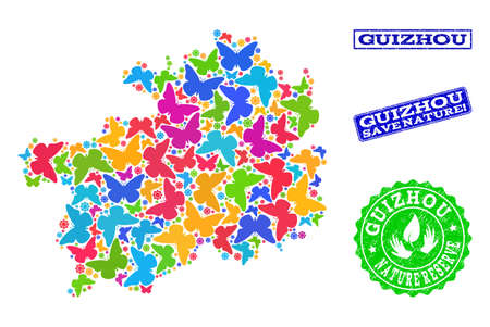 Ecological composition of bright mosaic map of Guizhou Province and unclean seal stamps with Nature Reserve text. Mosaic map of Guizhou Province constructed with bright colored butterflies. Reklamní fotografie - 124208936