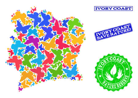 Eco friendly composition of bright mosaic map of Ivory Coast and unclean seal stamps with Save Nature text. Mosaic map of Ivory Coast designed with bright colored butterflies.