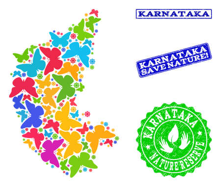 Ecological combination of bright mosaic map of Karnataka State and unclean seal stamps with Save Nature caption. Mosaic map of Karnataka State constructed with bright colored butterflies. Illustration