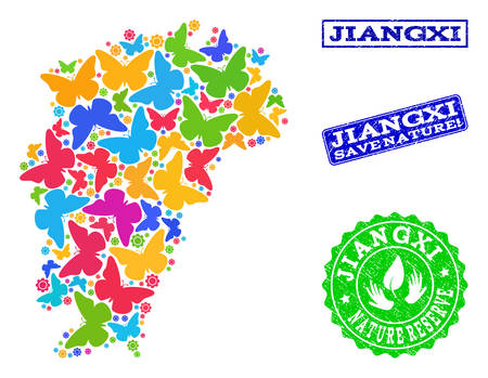 Eco friendly combination of bright mosaic Map of Jiangxi Province and textured stamps with Save Nature text. Mosaic Map of Jiangxi Province designed with bright colored butterflies.