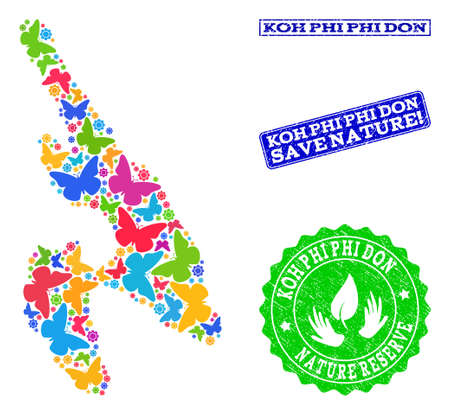 Ecological composition of bright mosaic map of Koh Phi Don and grunge seal stamps with Nature Reserve text. Mosaic map of Koh Phi Don constructed with bright colored butterflies.