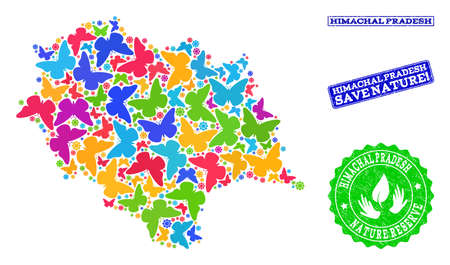 Ecological combination of bright mosaic map of Himachal Pradesh State and unclean stamps with Nature Reserve caption. Mosaic map of Himachal Pradesh State constructed with bright colored butterflies.