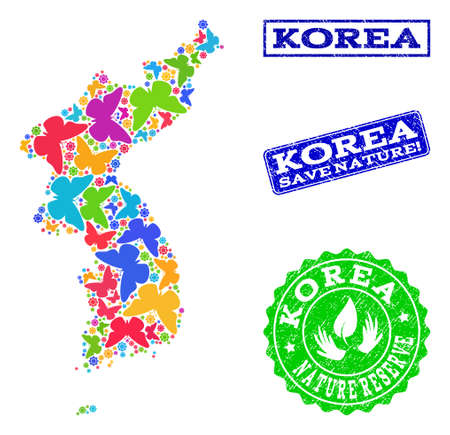Ecological collage of bright mosaic map of Korea and scratched stamps with Save Nature caption. Mosaic map of Korea designed with bright colored butterflies. Çizim