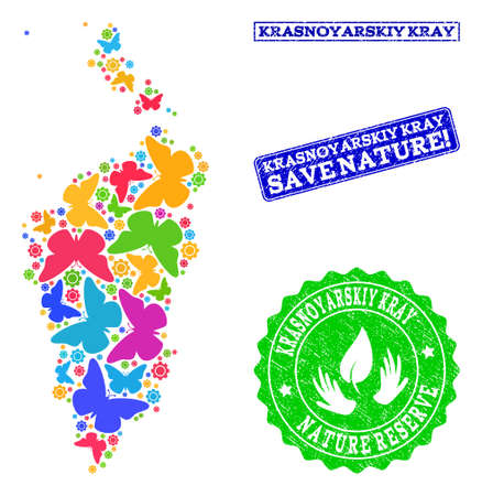 Ecological combination of bright mosaic map of Krasnoyarskiy Kray and dirty seal stamps with Nature Reserve text. Mosaic map of Krasnoyarskiy Kray constructed with bright colored butterflies.