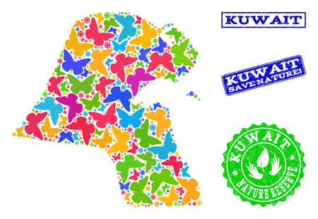 Ecological combination of bright mosaic map of Kuwait and grunge seals with Save Nature text. Mosaic map of Kuwait constructed with bright colored butterflies. Çizim