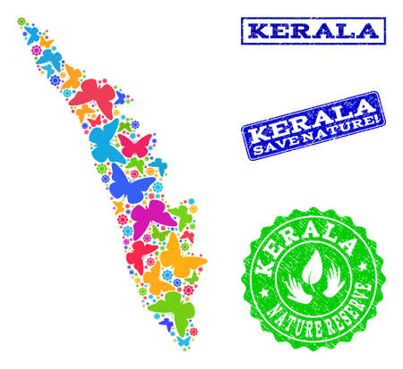 Eco friendly composition of bright mosaic map of Kerala State and rubber seals with Save Nature text. Mosaic map of Kerala State constructed with colorful butterflies.
