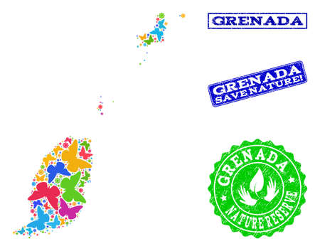 Ecological combination of bright mosaic map of Grenada Islands and rubber seals with Save Nature text. Mosaic map of Grenada Islands constructed with bright colored butterflies. Çizim
