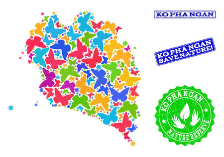 Ecological combination of bright mosaic map of Ko Pha Ngan and rubber seal stamps with Nature Reserve caption. Mosaic map of Ko Pha Ngan constructed with bright colored butterflies.