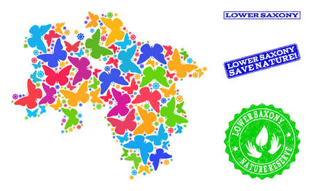 Eco friendly combination of bright mosaic map of Lower Saxony State and unclean stamps with Save Nature caption. Mosaic map of Lower Saxony State constructed with bright colored butterflies.