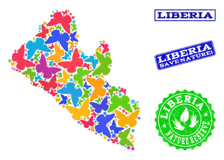Ecological collage of bright mosaic map of Liberia and rubber seal stamps with Save Nature caption. Mosaic map of Liberia designed with bright colored butterflies.