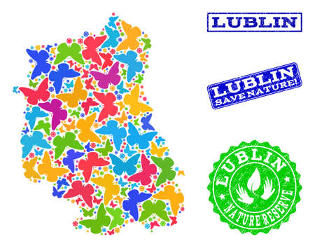 Eco friendly composition of bright mosaic map of Lublin Province and rubber seals with Nature Reserve caption. Mosaic map of Lublin Province designed with multi-colored butterflies.