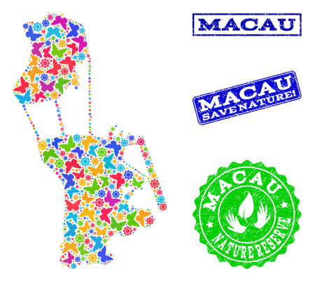 Eco friendly composition of bright mosaic map of Macau and scratched seals with Nature Reserve text. Mosaic map of Macau designed with bright colored butterflies.