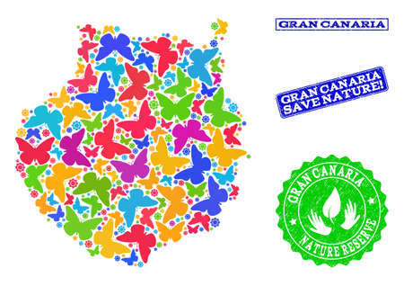 Ecological composition of bright mosaic map of Gran Canaria and rubber seals with Nature Reserve text. Mosaic map of Gran Canaria designed with bright colored butterflies.
