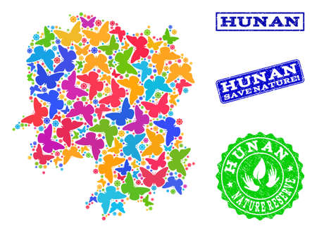 Ecological collage of bright mosaic map of Hunan Province and rubber stamps with Nature Reserve caption. Mosaic map of Hunan Province designed with bright colored butterflies.