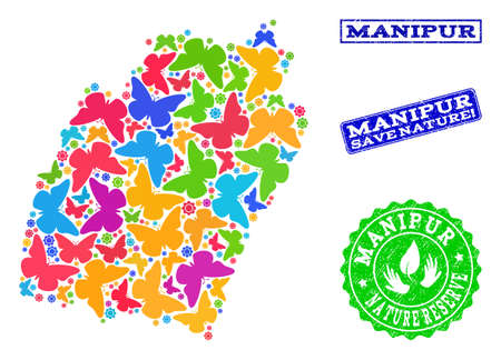 Eco friendly composition of bright mosaic map of Manipur State and rubber stamps with Nature Reserve text. Mosaic map of Manipur State constructed with bright colored butterflies.