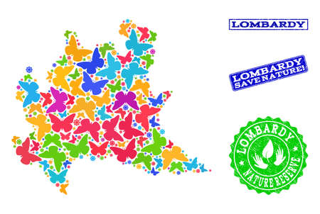 Eco friendly composition of bright mosaic map of Lombardy region and unclean seal stamps with Nature Reserve caption. Mosaic map of Lombardy region constructed with bright colored butterflies. Ilustração