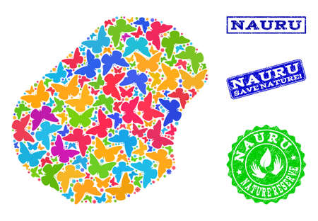 Eco friendly composition of bright mosaic map of Nauru and grunge seals with Save Nature text. Mosaic map of Nauru designed with bright colored butterflies. Vector seals with grunge rubber texture.