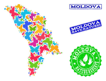 Ecological combination of bright mosaic map of Moldova and rubber seals with Nature Reserve text. Mosaic map of Moldova constructed with bright colored butterflies.