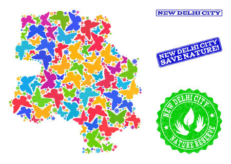 Ecological collage of bright mosaic map of New Delhi City and corroded seals with Nature Reserve caption. Mosaic map of New Delhi City constructed with bright colored butterflies.