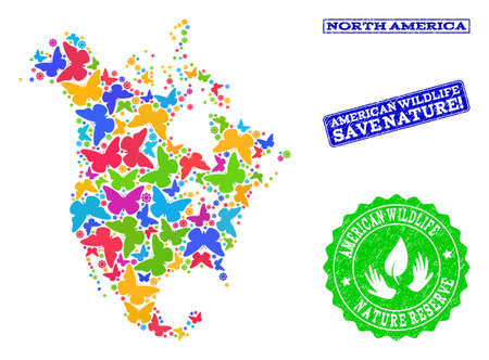 Ecological combination of bright mosaic map of North America and rubber seals with Nature Reserve caption. Mosaic map of North America constructed with bright colored butterflies.