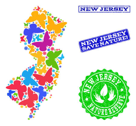 Ecological collage of bright mosaic map of New Jersey State and rubber stamps with Save Nature text. Mosaic map of New Jersey State designed with bright colored butterflies.