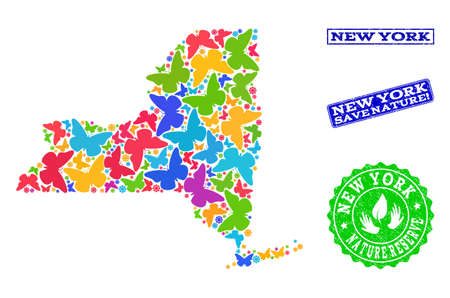 Ecological combination of bright mosaic map of New York State and textured seals with Save Nature caption. Mosaic map of New York State designed with bright colored butterflies.