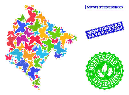 Ecological composition of bright mosaic map of Montenegro and unclean seal stamps with Save Nature caption. Mosaic map of Montenegro constructed with bright colored butterflies. Ilustracja