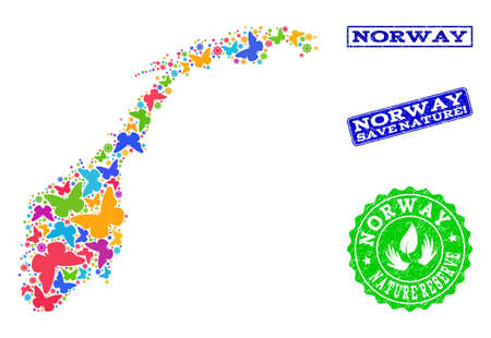 Eco friendly collage of bright mosaic map of Norway and corroded seals with Save Nature caption. Mosaic map of Norway constructed with bright colored butterflies. Çizim