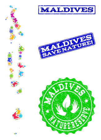 Ecological combination of bright mosaic map of Maldives and scratched seals with Save Nature caption. Mosaic map of Maldives constructed with bright colored butterflies.