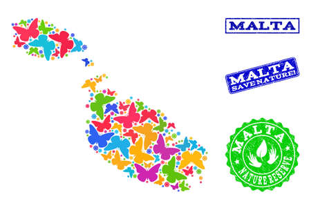 Ecological combination of bright mosaic map of Malta and scratched seal stamps with Nature Reserve caption. Mosaic map of Malta constructed with bright colored butterflies.