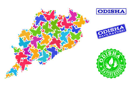 Ecological combination of bright mosaic map of Odisha State and rubber seals with Nature Reserve caption. Mosaic map of Odisha State designed with bright colored butterflies. Illustration