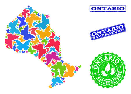 Eco friendly combination of bright mosaic map of Ontario Province and rubber seals with Nature Reserve caption. Mosaic map of Ontario Province designed with bright colored butterflies. Иллюстрация