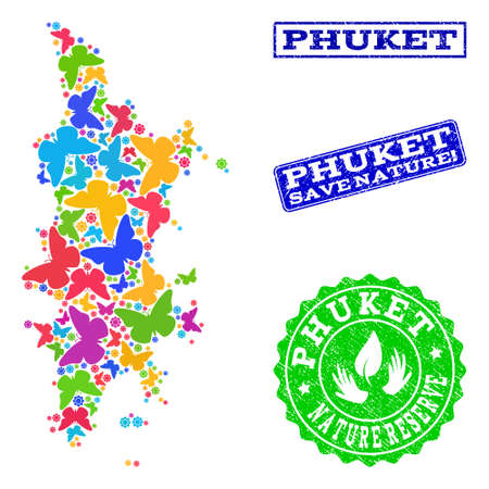 Ecological collage of bright mosaic map of Phuket and rubber stamps with Nature Reserve text. Mosaic map of Phuket designed with bright colored butterflies.