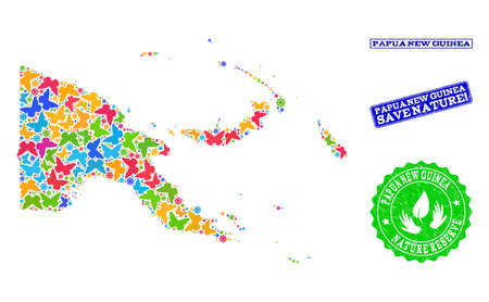 Eco friendly combination of bright mosaic map of Papua New Guinea and corroded stamps with Save Nature caption. Mosaic map of Papua New Guinea constructed with bright colored butterflies. Banque d'images - 119640842