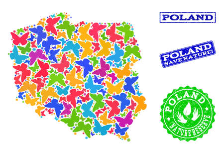 Eco friendly collage of bright mosaic map of Poland and textured seals with Nature Reserve text. Mosaic map of Poland designed with bright colored butterflies. Vector seals with grunge rubber texture.