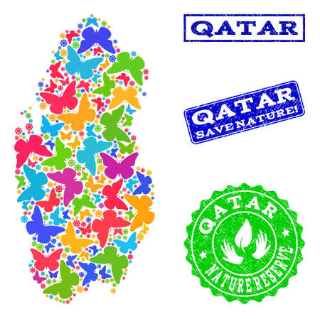 Eco friendly collage of bright mosaic map of Qatar and rubber seals with Save Nature text. Mosaic map of Qatar designed with colorful butterflies. Vector seals with scratched rubber texture.