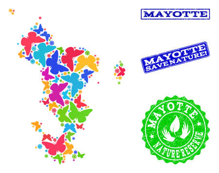 Ecological collage of bright mosaic map of Mayotte Islands and textured stamps with Save Nature caption. Mosaic map of Mayotte Islands constructed with bright colored butterflies. Çizim