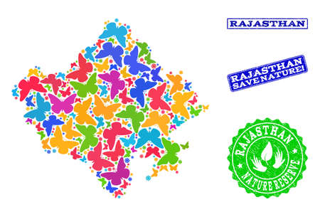 Eco friendly collage of bright mosaic map of Rajasthan State and rubber stamps with Save Nature text. Mosaic map of Rajasthan State constructed with multi-colored butterflies.