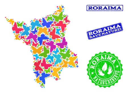 Eco friendly combination of bright mosaic map of Roraima State and rubber seals with Save Nature caption. Mosaic map of Roraima State constructed with bright colored butterflies. Çizim