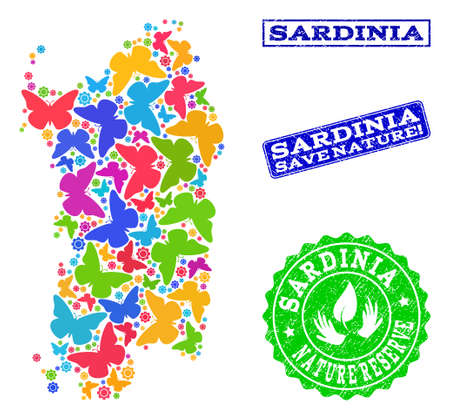 Ecological composition of bright mosaic map of Sardinia region and rubber seal stamps with Save Nature text. Mosaic map of Sardinia region designed with bright colored butterflies.