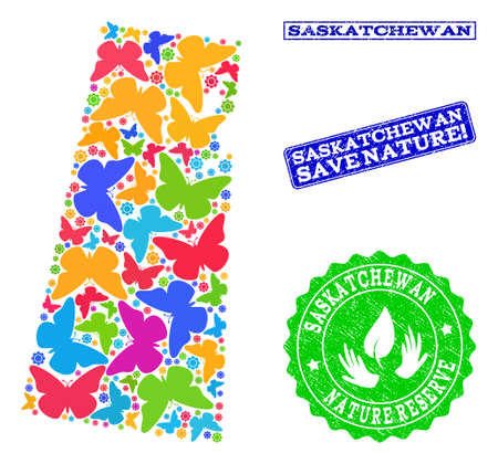 Eco friendly composition of bright mosaic map of Saskatchewan Province and rubber stamps with Save Nature caption. Mosaic map of Saskatchewan Province constructed with bright colored butterflies.