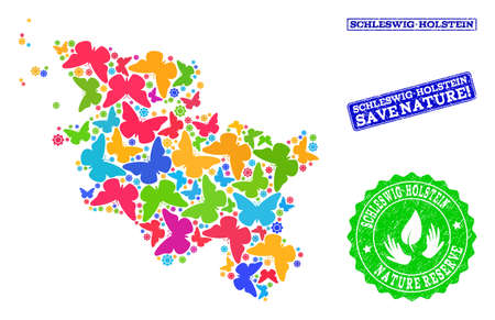 Ecological combination of bright mosaic map of Schleswig-Holstein State and corroded seal stamps with Save Nature text.