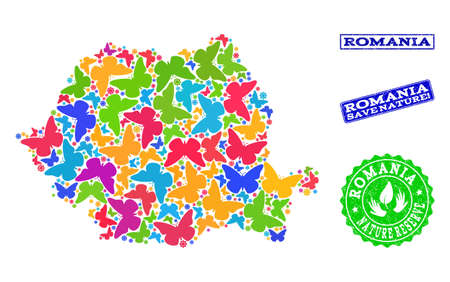 Ecological composition of bright mosaic map of Romania and rubber stamps with Save Nature caption. Mosaic map of Romania constructed with bright colored butterflies.