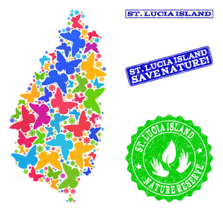 Ecological combination of bright mosaic map of Saint Lucia Island and dirty seal stamps with Nature Reserve text. Mosaic map of Saint Lucia Island constructed with bright colored butterflies.
