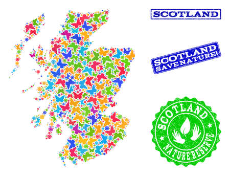 Eco friendly combination of bright mosaic map of Scotland and grunge seal stamps with Save Nature text. Mosaic map of Scotland designed with colorful butterflies. Reklamní fotografie - 124208991