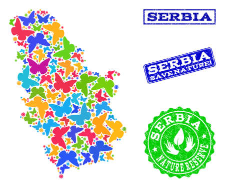 Ecological combination of bright mosaic map of Serbia and grunge seals with Nature Reserve caption. Mosaic map of Serbia designed with bright colored butterflies.