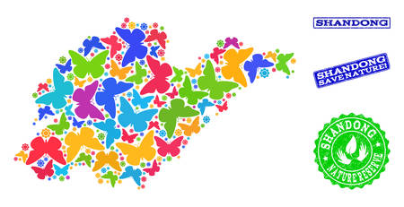 Ecological composition of bright mosaic map of Shandong Province and rubber seals with Save Nature caption. Mosaic map of Shandong Province constructed with bright colored butterflies. Reklamní fotografie - 124208993