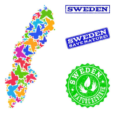Ecological composition of bright mosaic map of Sweden and rubber stamps with Nature Reserve text. Mosaic map of Sweden designed with bright colored butterflies.